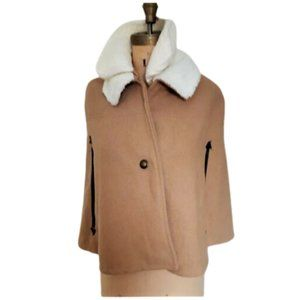 Tan  light brown teddy collar coat cape poncho